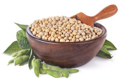 Soybeans in a wooden bowl Stock Photo