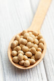 Soybeans in wooden spoon Royalty Free Stock Images