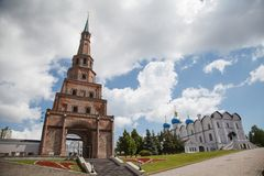 Soyembika塔在喀山克里姆林宫,鞑靼斯坦共和国,俄罗斯 库存图片