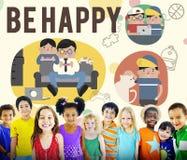 Soyez concept heureux de loisir d'activité photo libre de droits