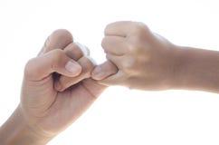 Soyez de pair avec l'amour et le soin l'un pour l'autre lien d'enfant de mêmes parents Image stock