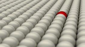 Soyez différent, position hors de la foule, boule rouge entourée par les boules blanches, le concept, 3D rendent Photos stock
