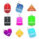 soyez gagnant coloré d'étiquettes Images stock