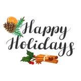 Soyez joyeux Lettrage avec l'illustration de Noël illustration de vecteur