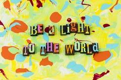 Soyez léger à la direction de changement d'éclat du monde image stock