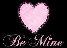 Soyez le mien avec le coeur rose sur le fond noir Image stock