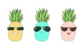 Soyez les ananas frais d'autocollants illustration de vecteur