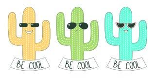Soyez les cactus frais d'autocollants Image stock