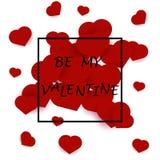 Soyez ma carte de valentine avec les coeurs rouges Photo stock