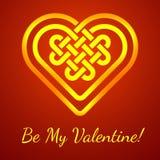 Soyez ma carte de Valentine avec un noeud celtique de forme de coeur, illustration de vecteur Photographie stock libre de droits