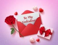 Soyez ma conception de vecteur de carte de voeux de valentines avec la lettre d'amour rouge Image libre de droits