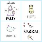 Soyez magique Cartes postales avec les licornes mignonnes Photos libres de droits