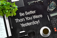Soyez meilleur que vous étiez hier concept 3d rendent Photo stock