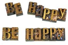 Soyez message heureux d'impression typographique de salutation Photos libres de droits