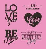 Soyez mine carte du 14 février avec les oiseaux et le ruban roses Image libre de droits