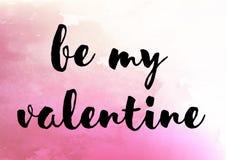 Soyez mon aquarelle mignonne de valentine Photos stock