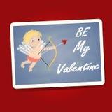 Soyez mon mot de Valentine avec le cupidon sur le conseil noir Photographie stock libre de droits