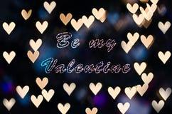 Soyez mon Valentine avec le bokeh de coeur Photo stock