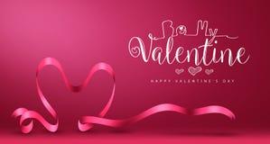 Soyez mon Valentine Banner avec le jour de valentines heureux de vecteur de coeur Photographie stock