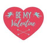 Soyez mon Valentine Card avec des coeurs, l'ange et la flèche vect d'isolement Photo stock