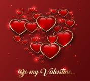 Soyez mon Valentine Greeting Card avec le coeur 3d brillant dans le cadre d'or et l'effet de la lumière illustration de vecteur