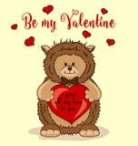 Soyez mon Valentine Greeting Card avec le hérisson mignon Image stock