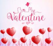 Soyez mon Valentine Poster avec les ballons rouges de coeur pour le jour de valentines Image libre de droits