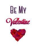 Soyez mon vecteur de valentine avec le coeur Photo stock