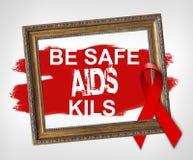Soyez SIDA Kils, concept de coffre-fort de Journée mondiale contre le SIDA avec le ruban rouge illustration stock