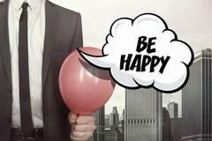 Soyez texte heureux sur la bulle de la parole photo stock