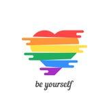 Soyez vous-même avec le coeur coloré illustration stock