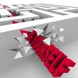 Soyez vous-même exprime traverser Maze Labyrinth Images stock