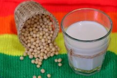 Soymilk for breakfast drink. Homemade soy milk for breakfast drink, soya milk and soybean on colorful background, this beverage rich omega, protein, fibre, also Stock Photo