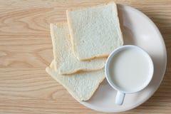Soymilk i chleb Obraz Stock