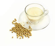 Soymilk with soybeans Royalty Free Stock Images
