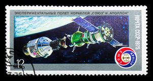 Free  Soyuz   And  Apollo   In Docking Procedure, Space Flight Of  Soyu Royalty Free Stock Photos - 117992958