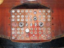 Soyuz capsule vintage electrical connecting panel with reentry b Stock Image