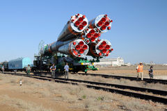 Soyuz Launch Vehicle Rollout Stock Images