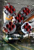 Soyuz raket och Soyuz rymdskepp i Baikonur Arkivfoton
