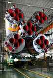 Soyuz Rocket and Soyuz Spacecraft in Baikonur. The Soyuz rocket and Soyuz TMA-03M spacecraft in the Integration facility building at Baikonur cosmodrome Stock Photos
