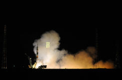 Soyuz Spacecraft Launch at Night Royalty Free Stock Image