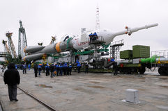 Soyuz Spacecraft at Launch Pad Stock Images