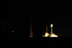 Soyuz Spacecraft Night Launch Royalty Free Stock Photo