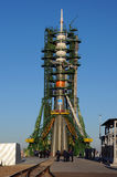 Soyuz TMA-15M on the Launch Pad. At Baikonur cosmodrome in preparation for the flight to ISS two days later. Crew: Shkaplerov (commander), Virts, Cristoforetti Stock Photography