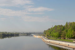 Sozh river embankment near the Palace and Park Ensemble in Gomel, Belarus. Stock Photo