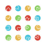 Soziales Netz farbiger Ikonensatz Lizenzfreie Stockbilder