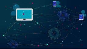 Soziales Netz, Leute, die auf der ganzen Erde anschließen Internet-, Kommunikations- und Social Media-Konzepte in einem Netz mit  lizenzfreie abbildung