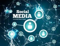 Soziales Netz mit dem Punkt angeschlossen durch Linien vektor abbildung