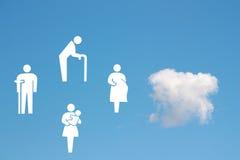 Sozialfürsorgekonzept auf Hintergrund des blauen Himmels Stockfoto