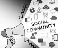Sozialgemeinschaft, die Illustration der Netz-Blog-3d darstellt Stockbilder